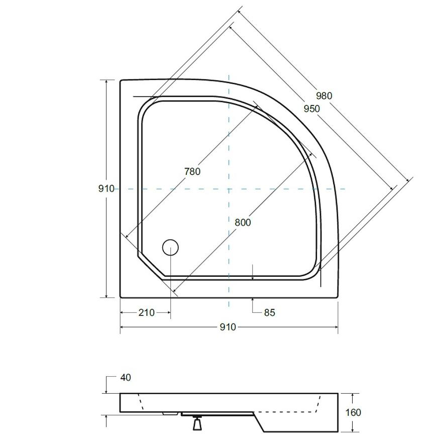 Sprchová vanička půlkulatá Alex 90x90x4/16