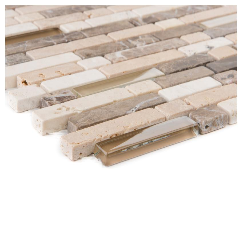 Mozaika marron/travertin/crema/glassmix brau 30,6x31,6x0,8