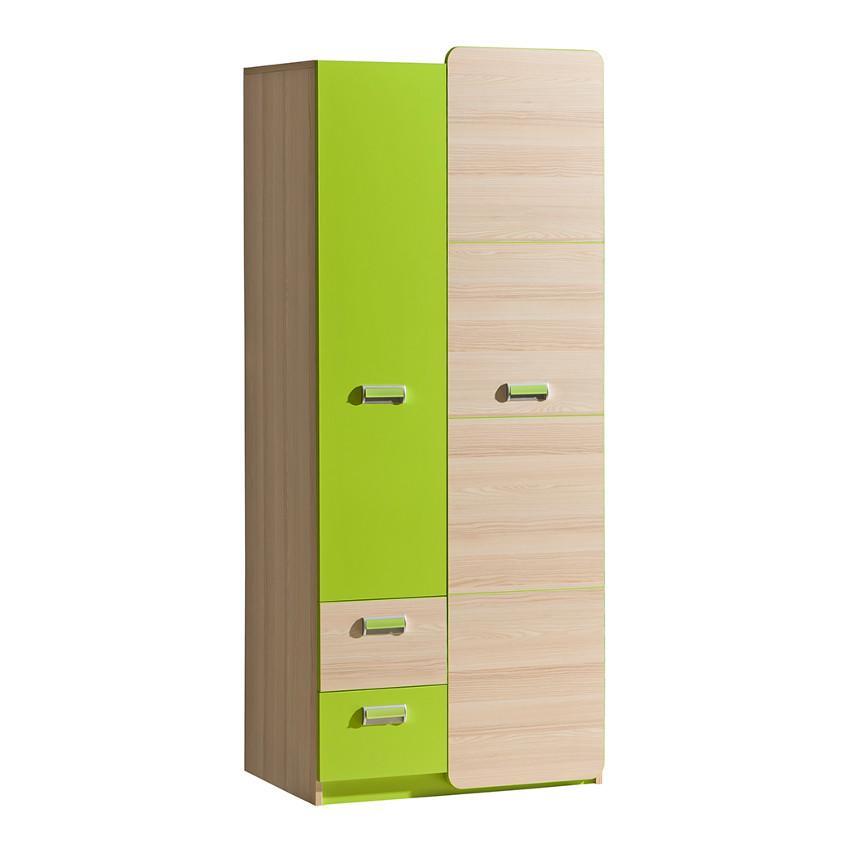 Skříň Lorento 80cm Jasen/Zelená
