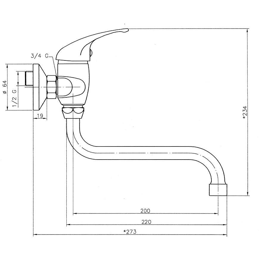 Baterie dřezová/umyvadlová nástěnná TITANIA NEON 93070/T,0