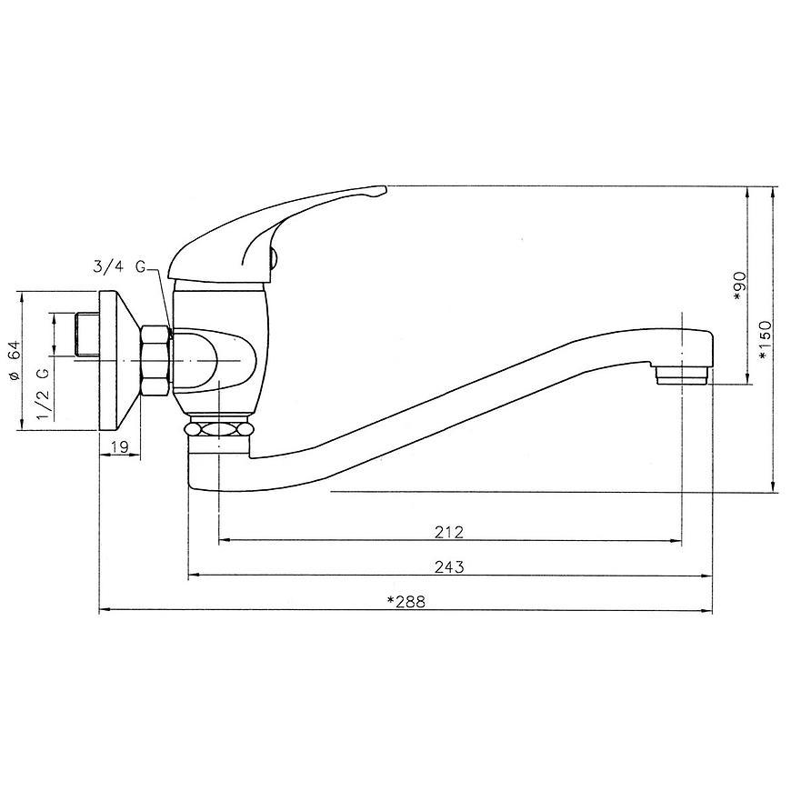 Baterie dřezová/umyvadlová nástěnná TITANIA NEON 93074,0