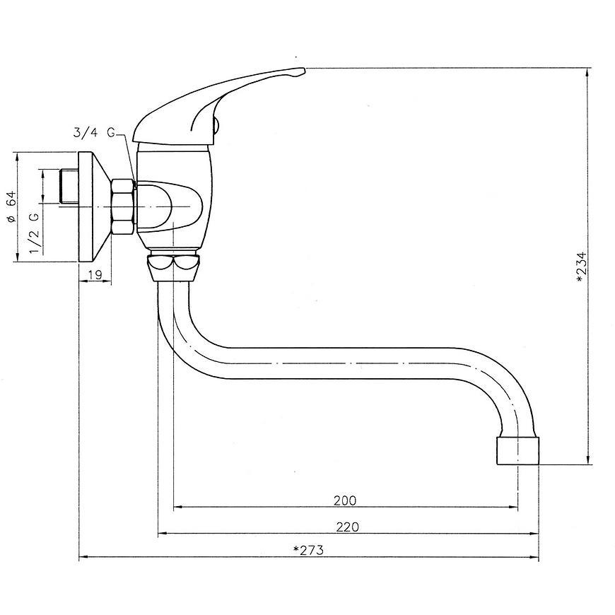 Baterie dřezová/umyvadlová nástěnná TITANIA NEON 93074/T,0