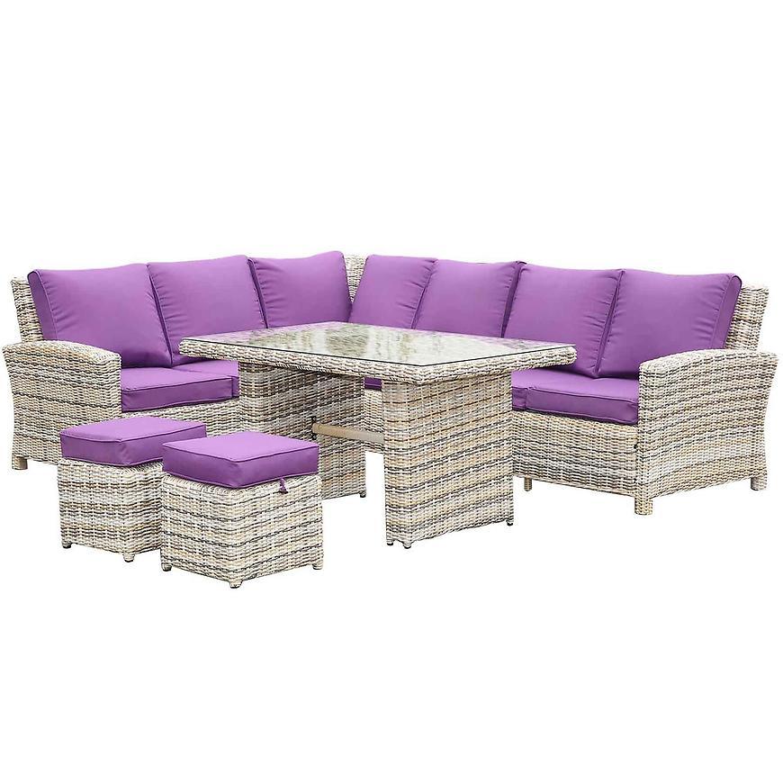 Rohová sedačka +stůl+2 taburetky umělý ratan yf-8374