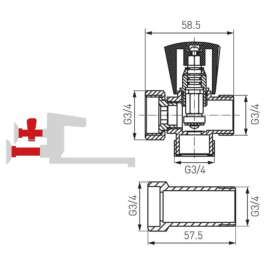 """Rozbočovací přívodní ventil pro nástěnné baterie 3/4"""""""