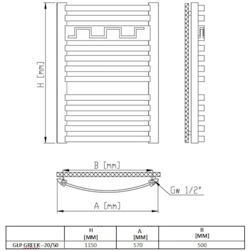 Radiátor glp rubin grek 20/50 1150x570 580w
