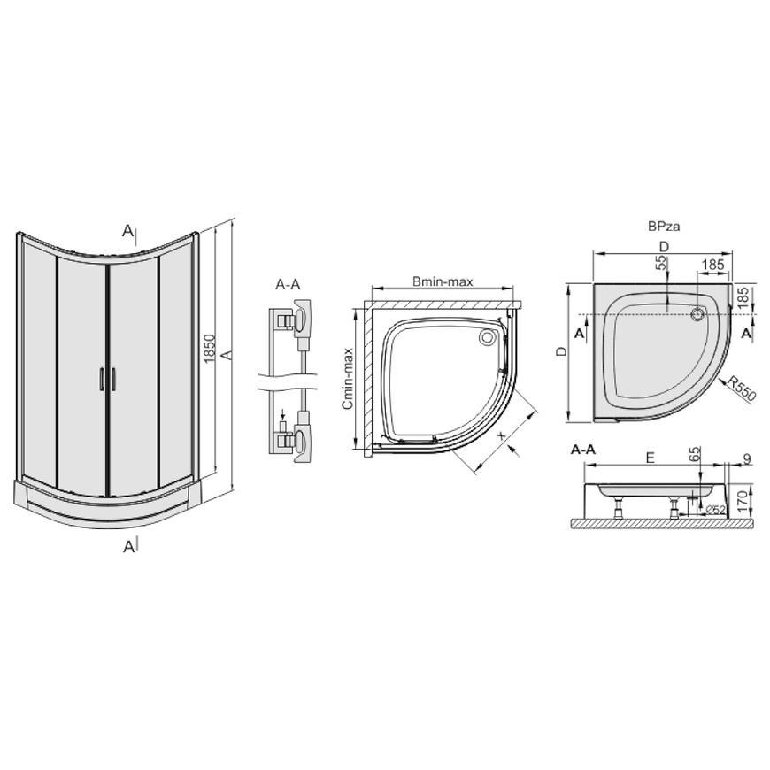 Sprchový kout čtvrtkruhový kp4/tx5b 80/190 w15 sb+bpza 2el glass protec