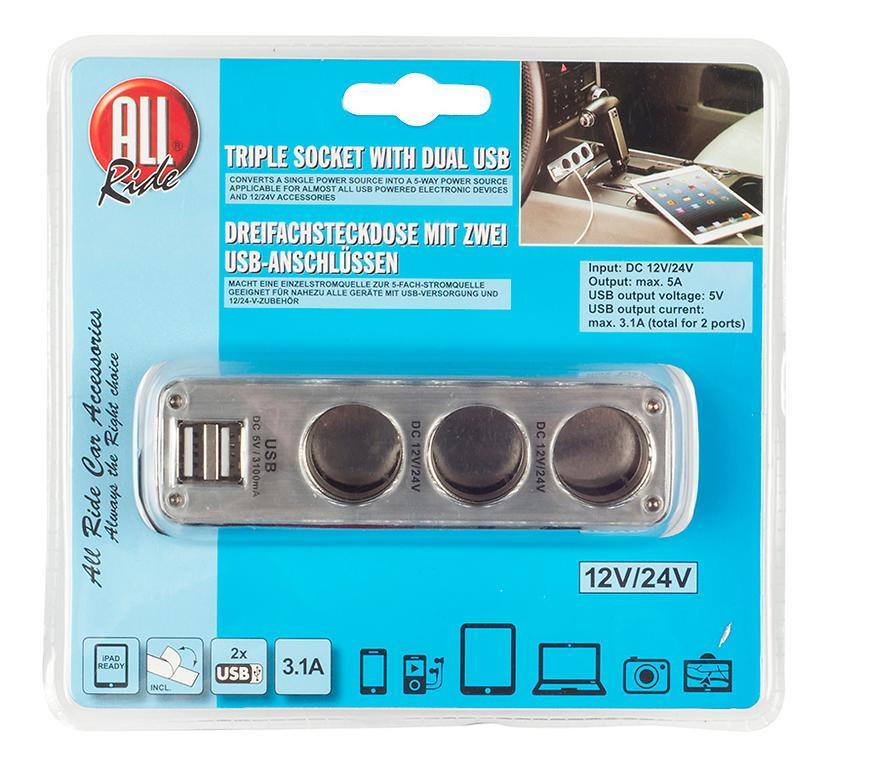 Allride roztrojka + 2 USB 3.1A