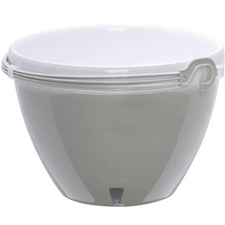 Samozavlažovací závěsný květináč Vista šedá/bílá ø 22cm – 3,8l