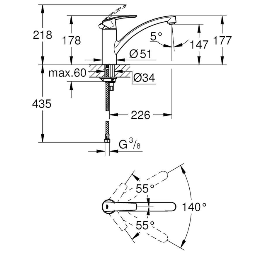 Baterie dřezová stojánková START 32441001