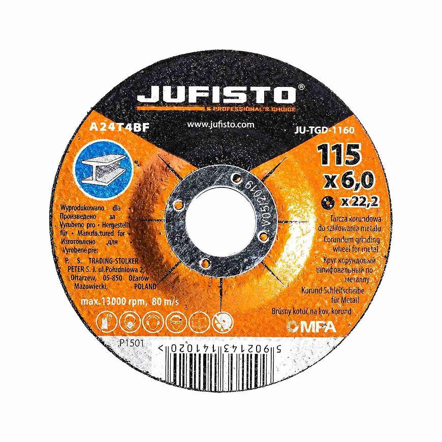 Brusný kotouč kov 115 x 6.0 mm, Jufisto