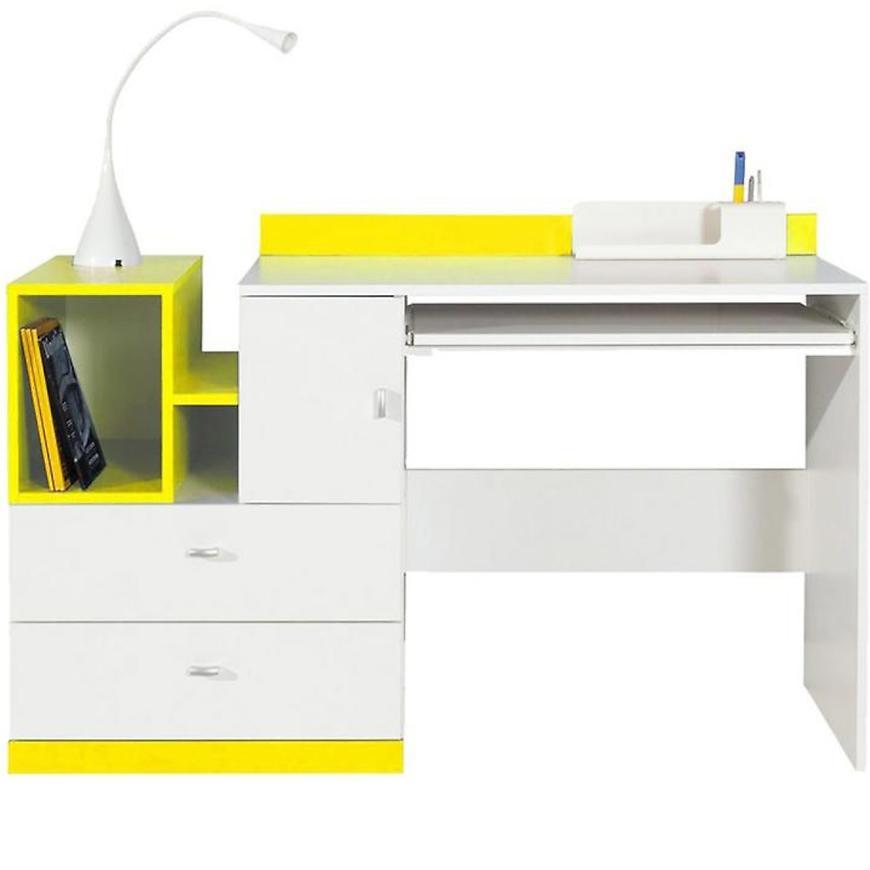 Psací Stůl Mobi 130 cm Bílá Lux / žlutá