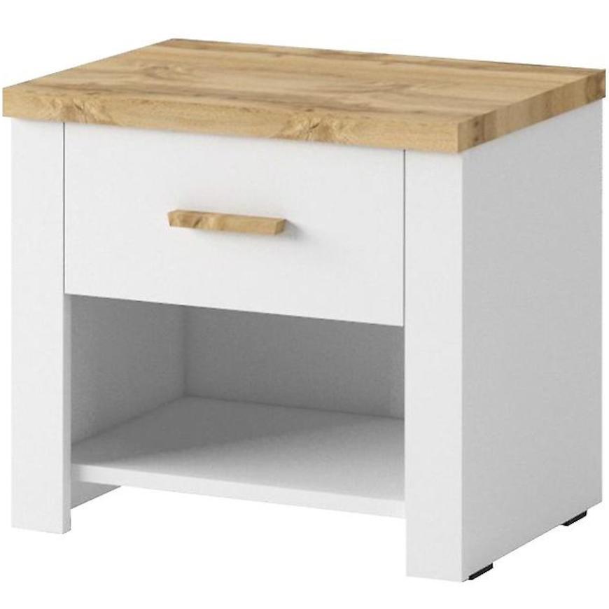 Noční stolek Nicea 50 cm set, dub wotan / bílá