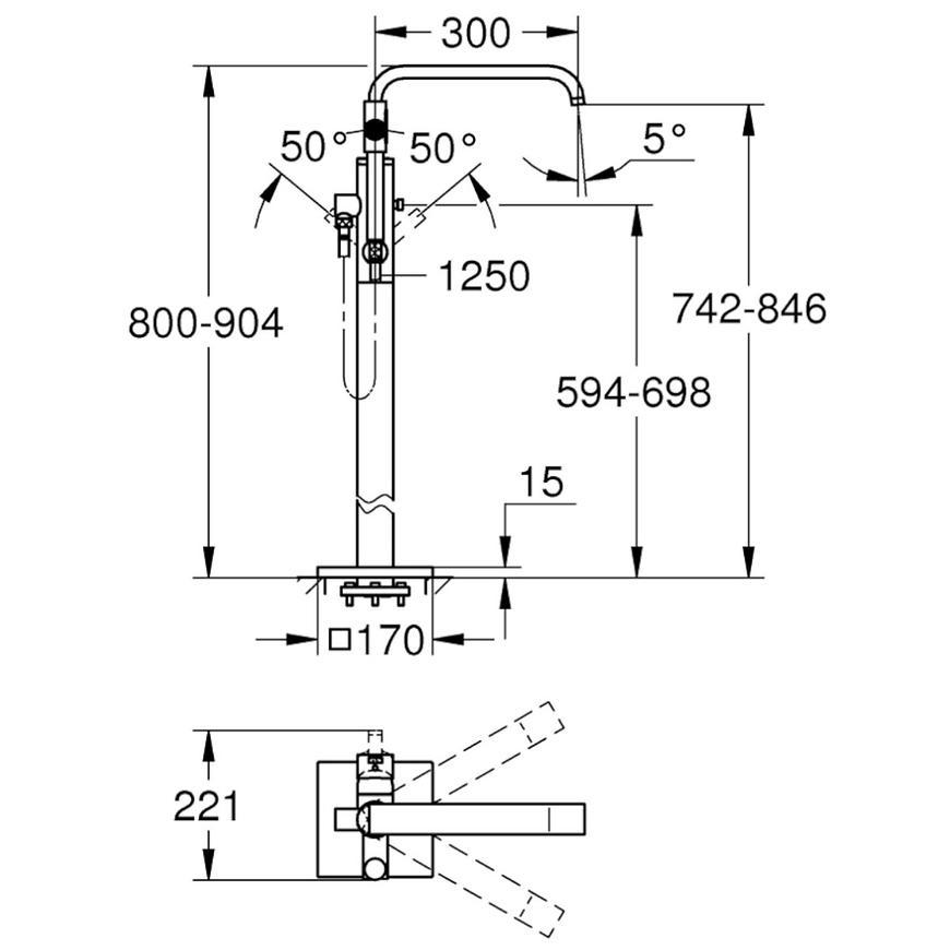 Baterie umyvadlová stojánková BAULOOP 23335000