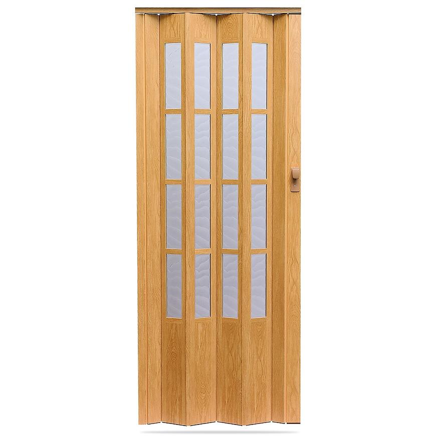 Shrnovací dveře Crystalline glass dub světlý