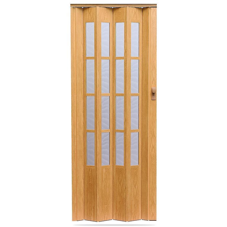 Shrnovací dveře Crystalline glass dub světlý 860mm