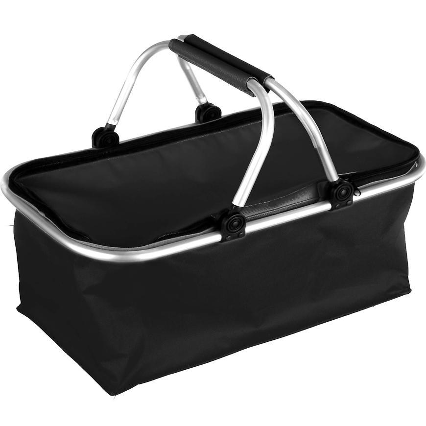 Skládací kempingový košík (černý) s uzavíráním na zip 5