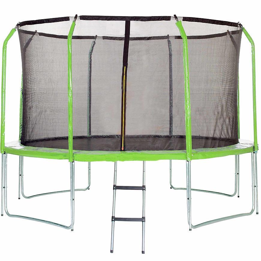 Trampolína s žebříkem 366cm zelená