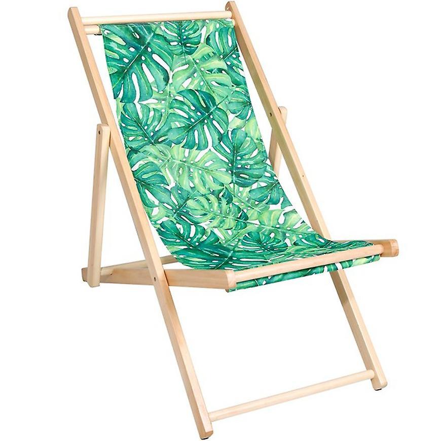 Skládací dřevěné lehátko zelené