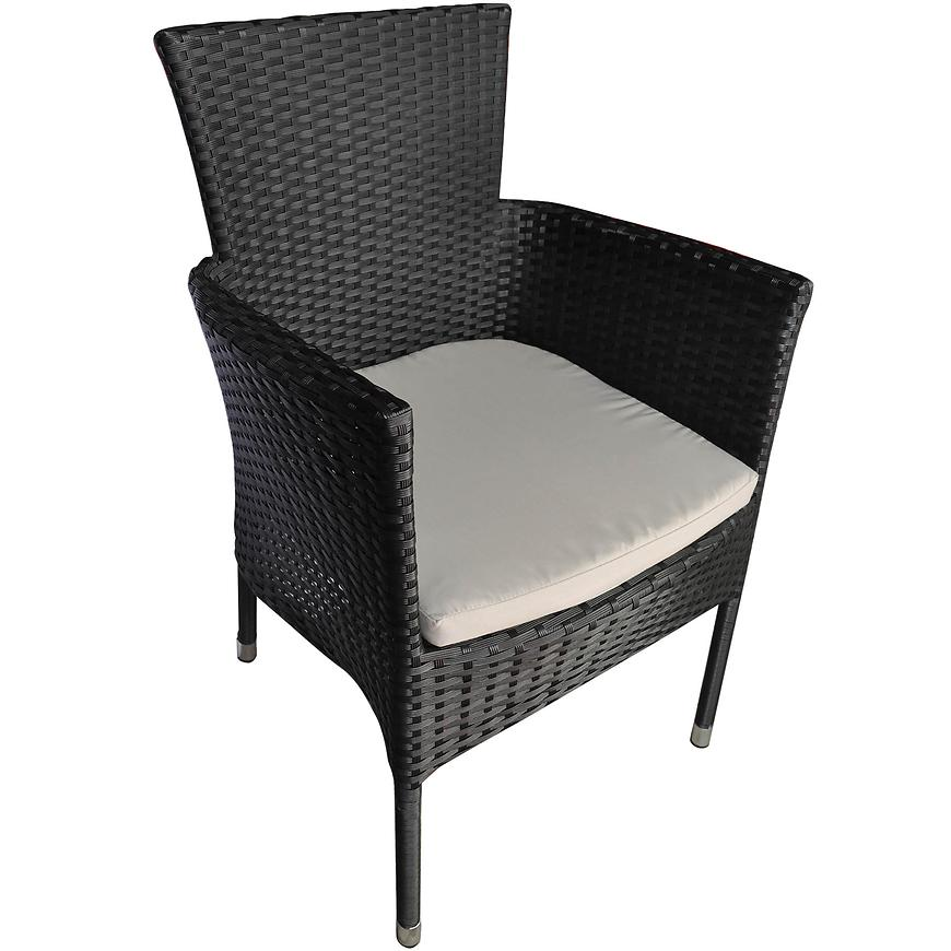 Židle ratan černý s polštářem