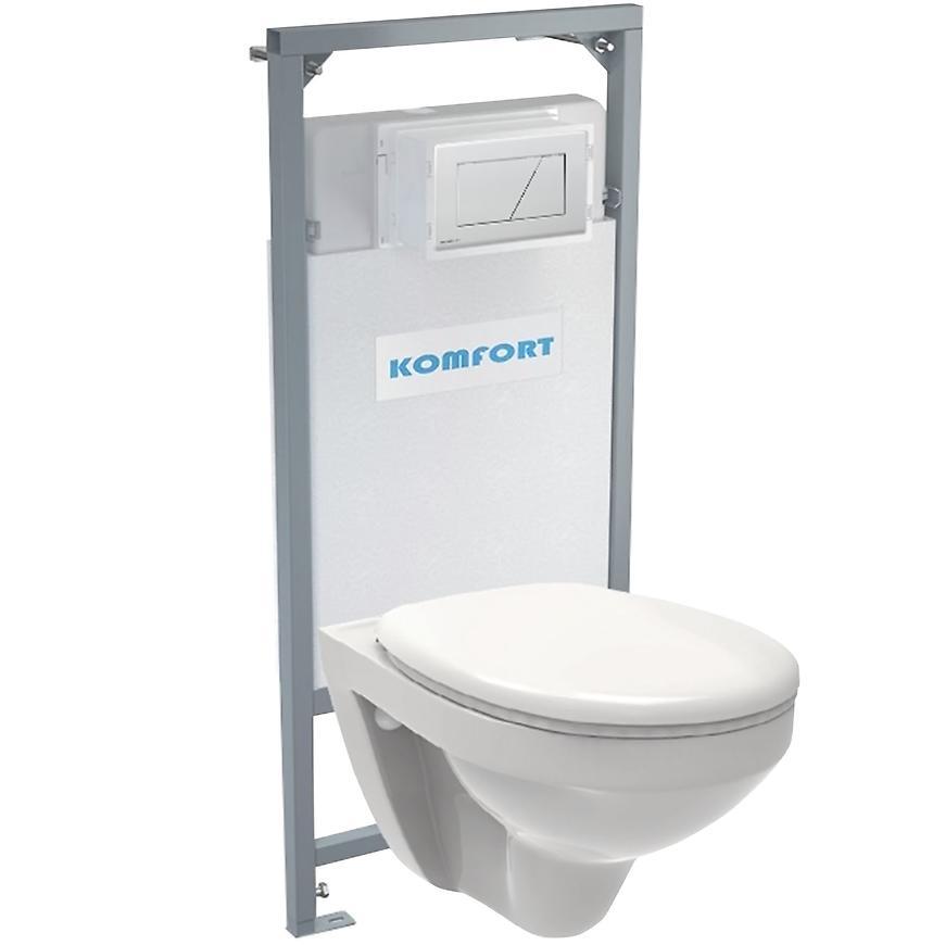 Alcaplast podomítkový set pro komfort C201 + tlačítko + WC mísa závěsná rimless + sedátko