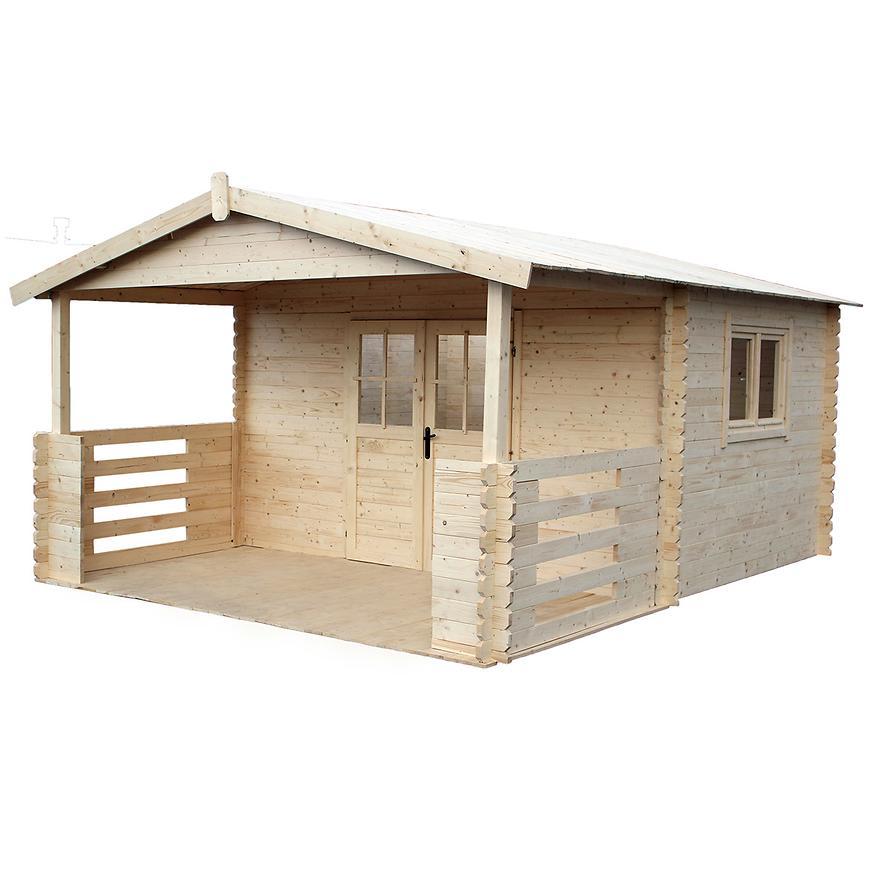 Domček Zuzia II 4x3m + terasa 4x2m s oknem, 34mm