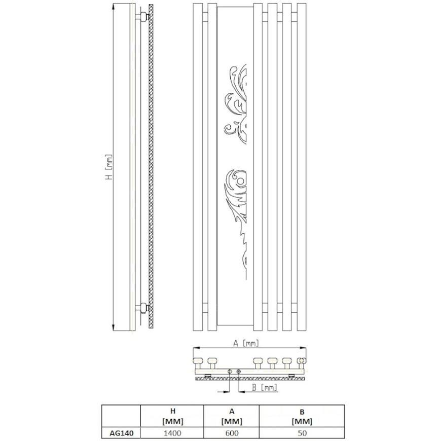 Radiátor AG 140 R50 1400x600 673w