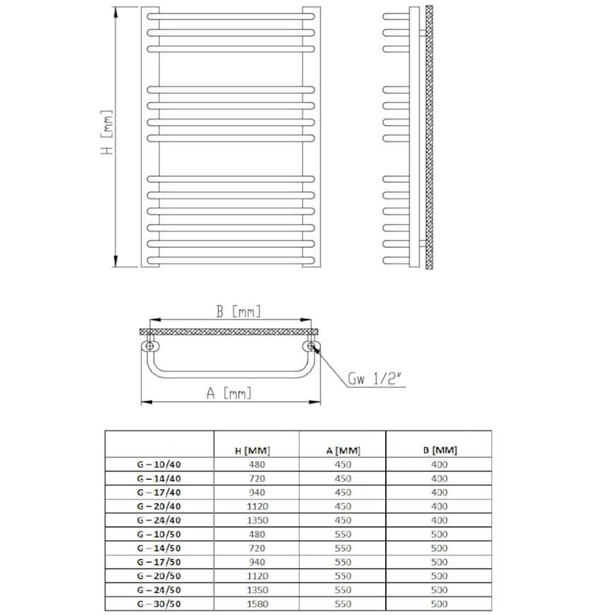 Radiátor G 17/40 940X450 372W