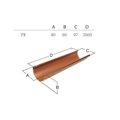 Okapový žlab RG 75 2 m