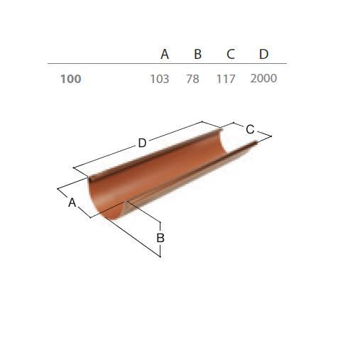 Okapový žlab RG 100 2 m