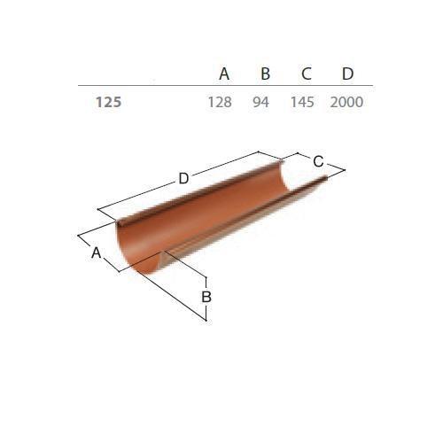 Okapový žlab RG 125 2 m