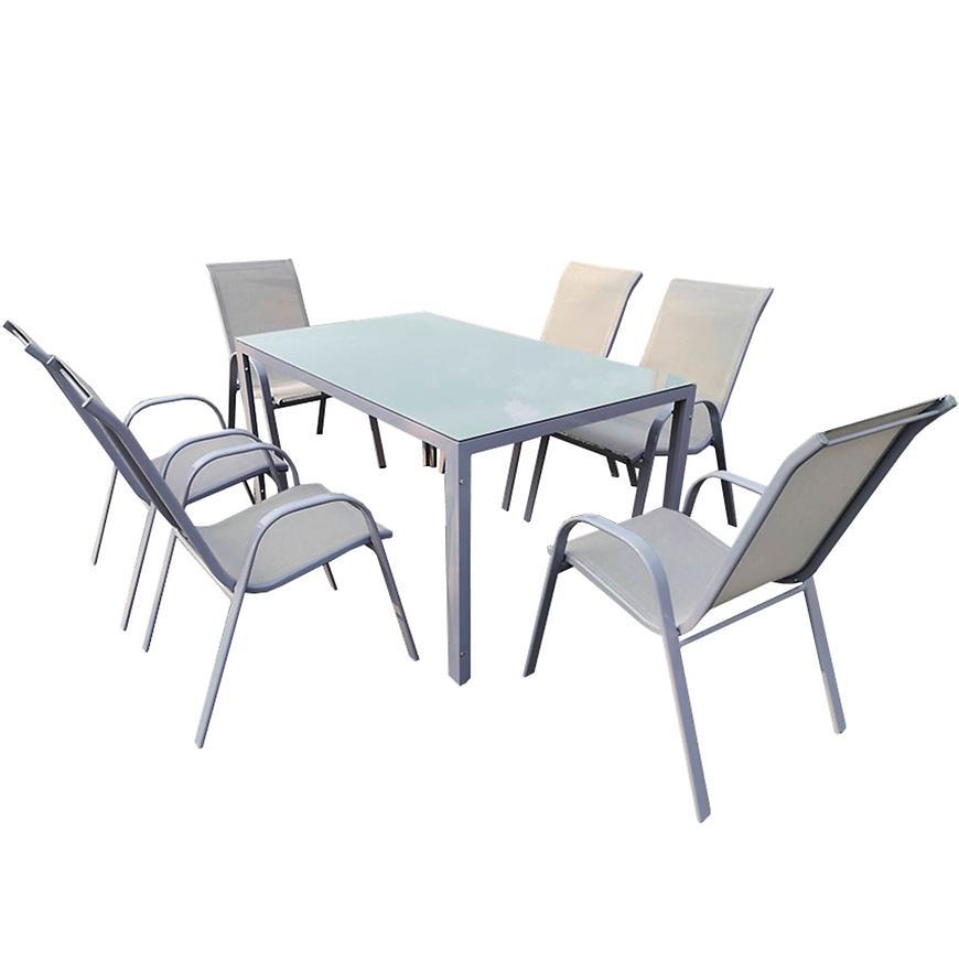 Sada Bergen skleněný stůl + 6 židlí šedá