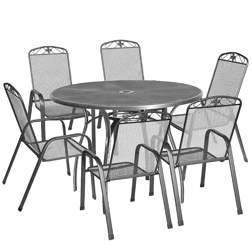 Sada kovového nábytku kulatého stolu + 6 židlí