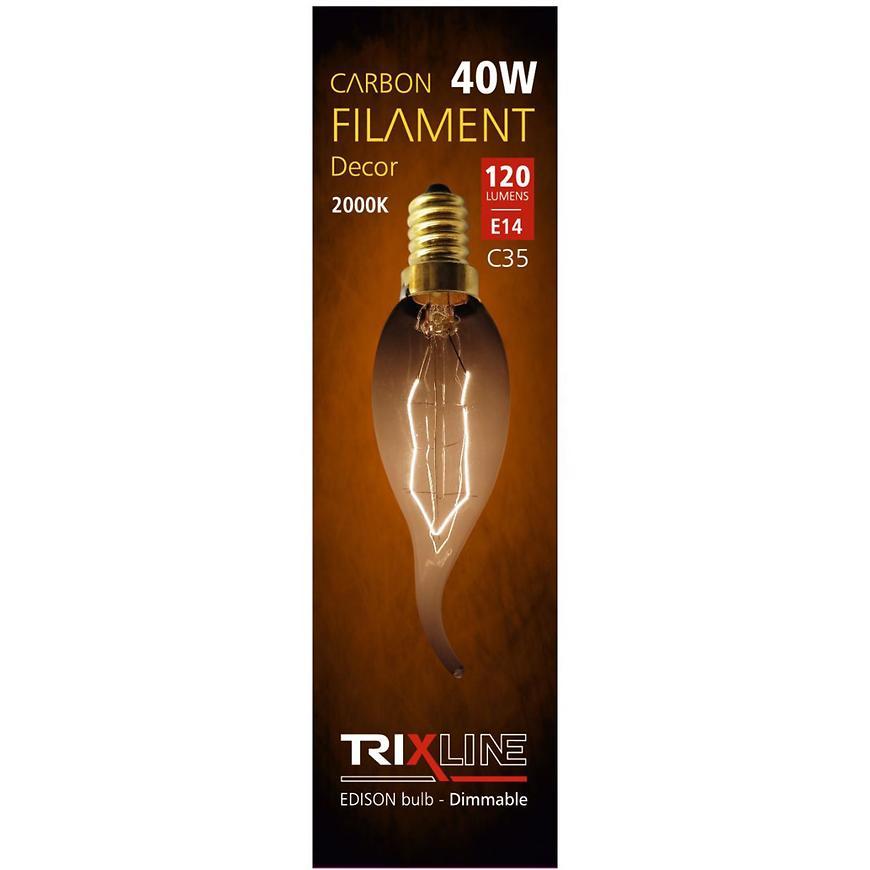 Žárovka E14 40W Trixline carbon decor C35-LT