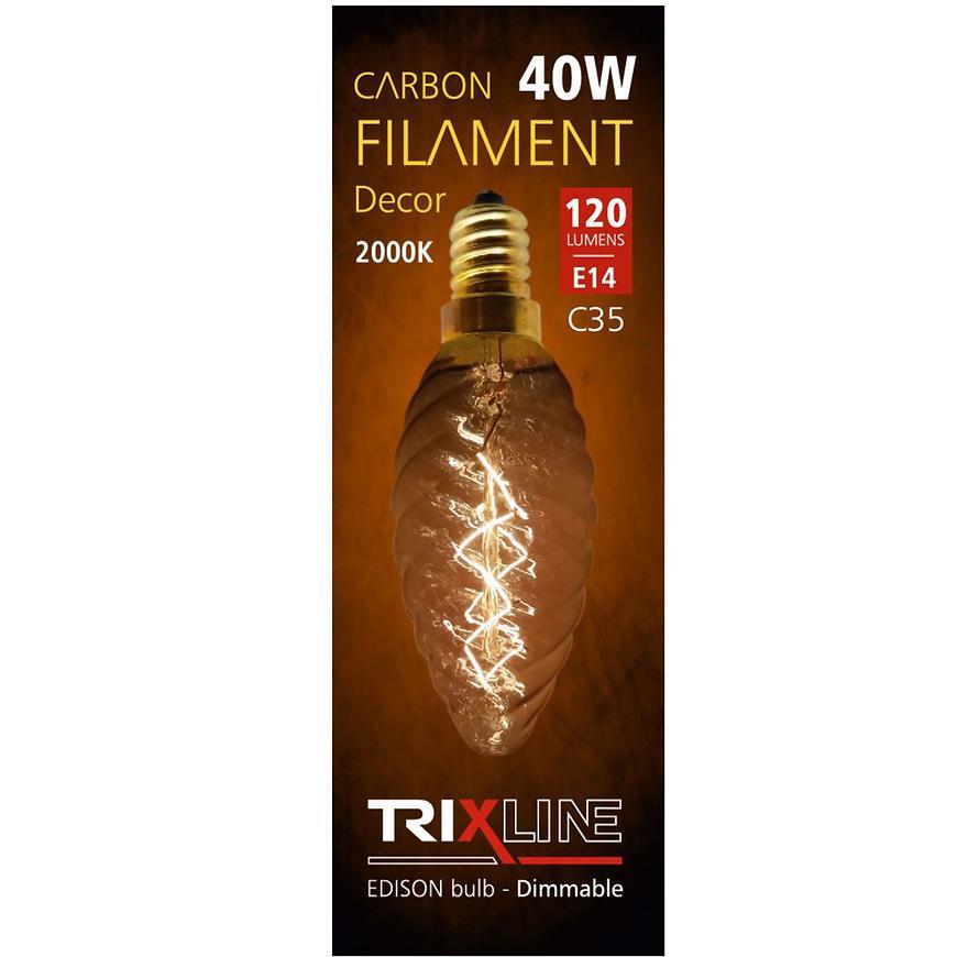 Žárovka E14 40W Trixline carbon decor C35-T