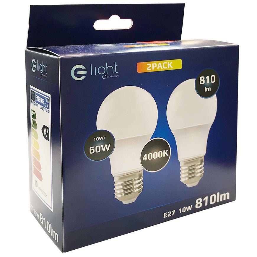 Žárovka LED 2PACK A60 E27 10W 4000K