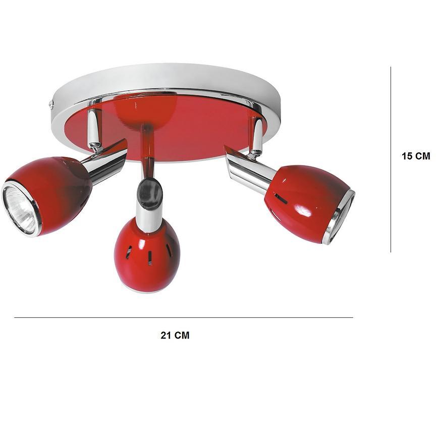 Bodové svítidlo Colors  3xGU10 50W červený/chróm