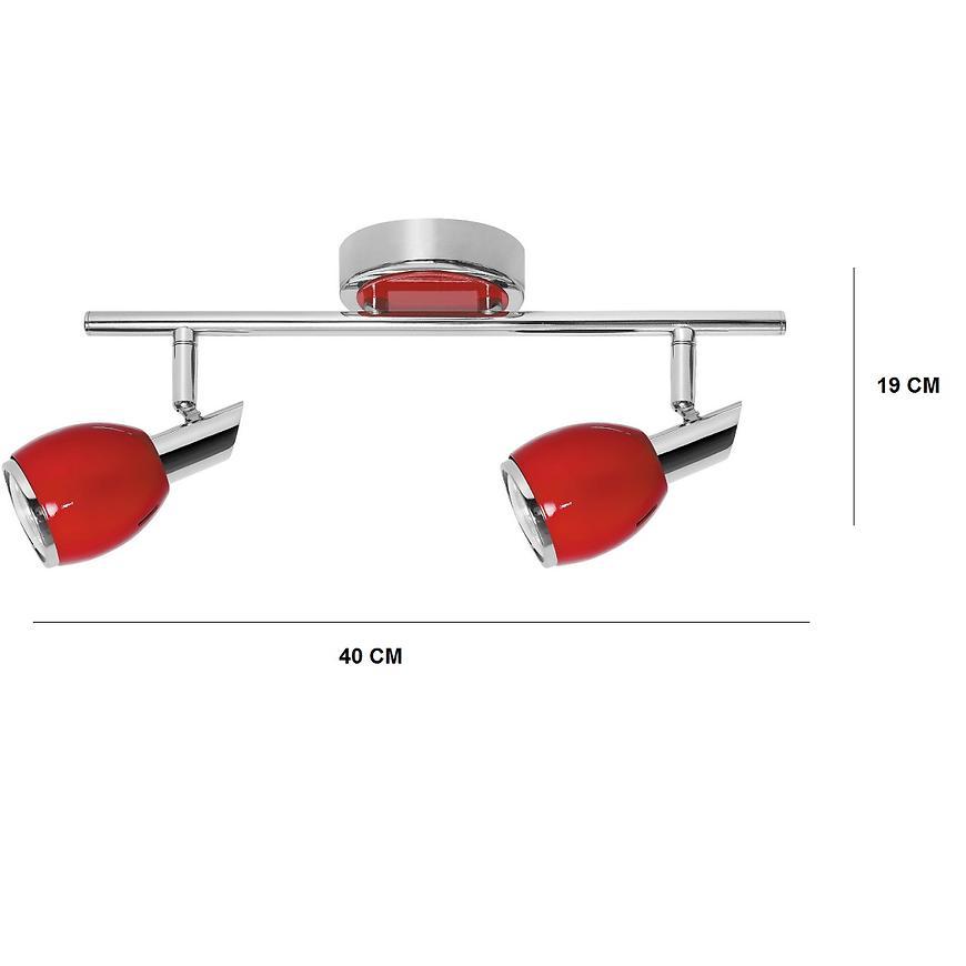 Bodové svítidlo Colors 2xGU10 50W červený/chróm