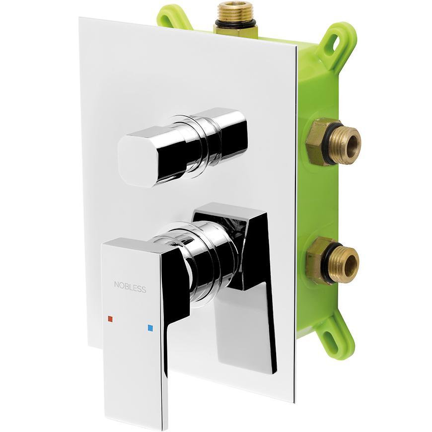 Baterie sprchová/vanová podomítková - s boxem 3 vývody, NOBLESS EDGE BOX36051RX,0