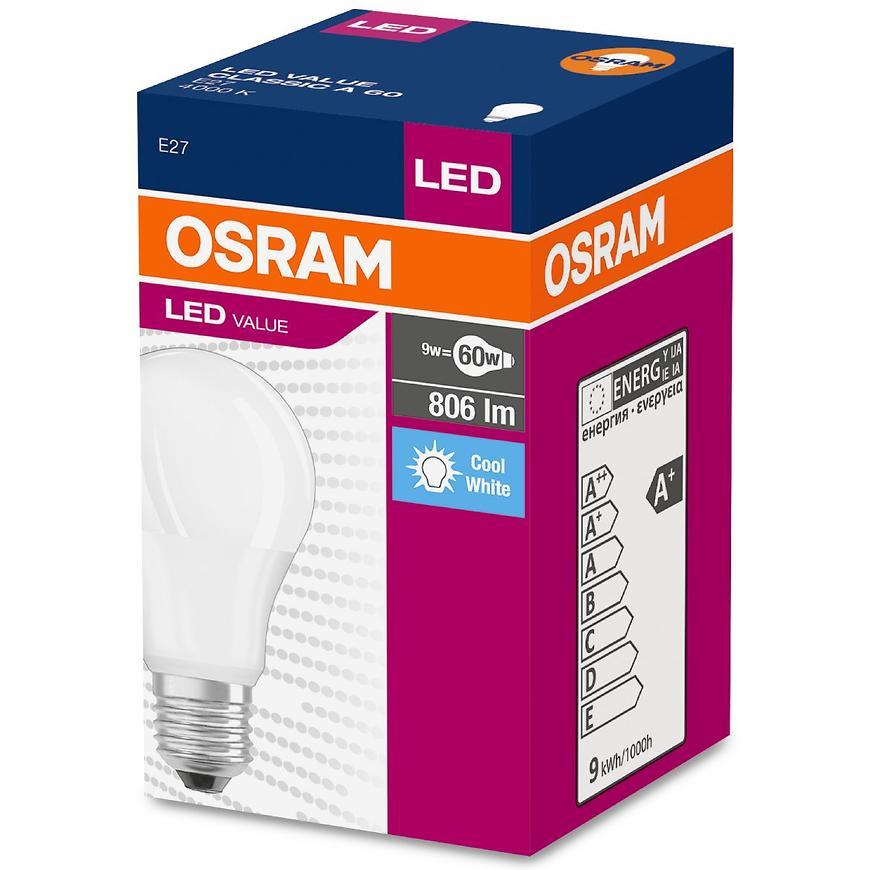 Žárovka LED 9,5W/840 E27 Value Cl A 60 Fr