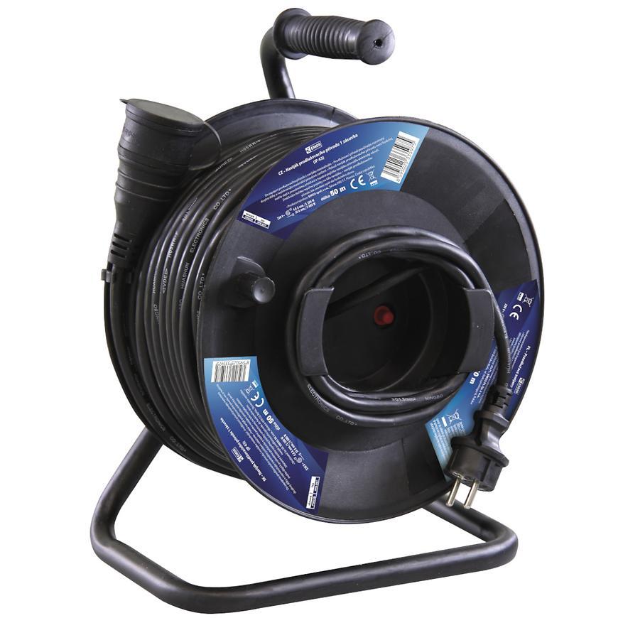 Prodlužovací kabel na bubnu 1g 50m gumový