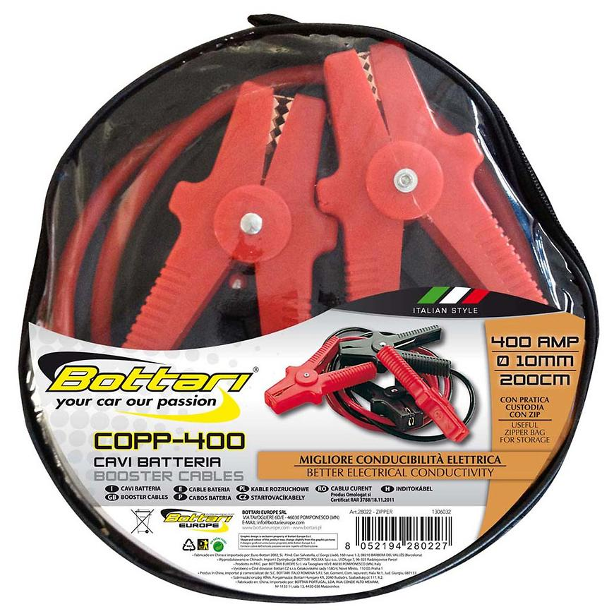 Kabely Startovací 400A Zipper 10mm 200cm