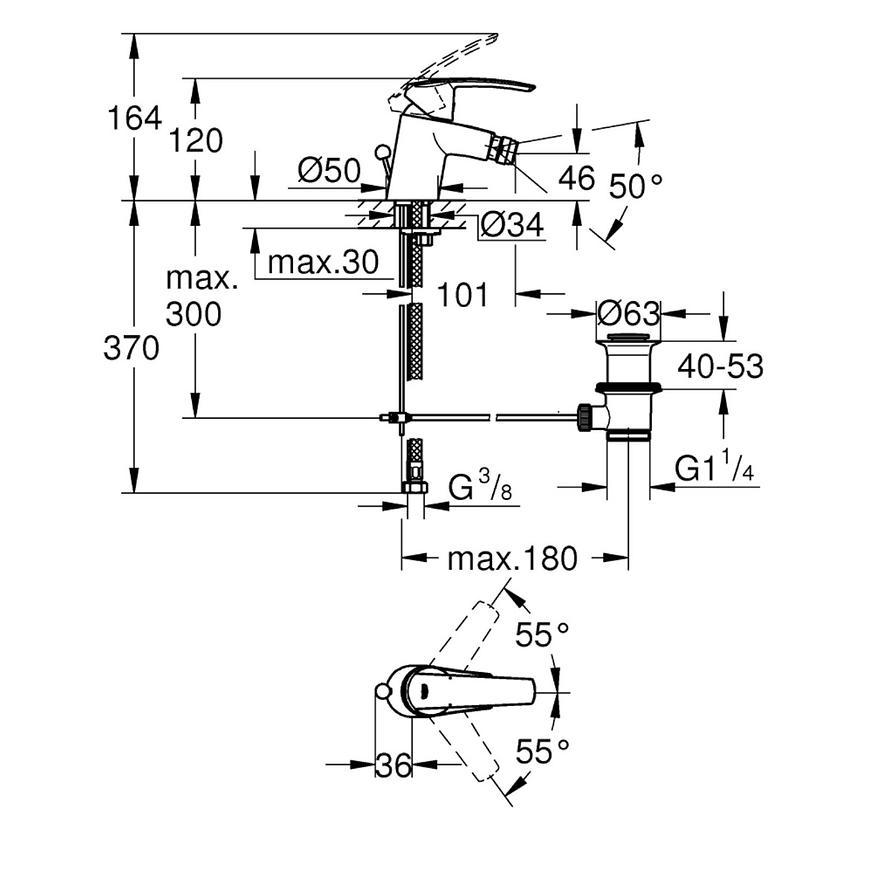 Baterie bidetová stojánková START 32560001