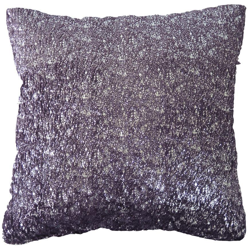 Dekorační polštář, 45x45 cm, fialovostříbrný