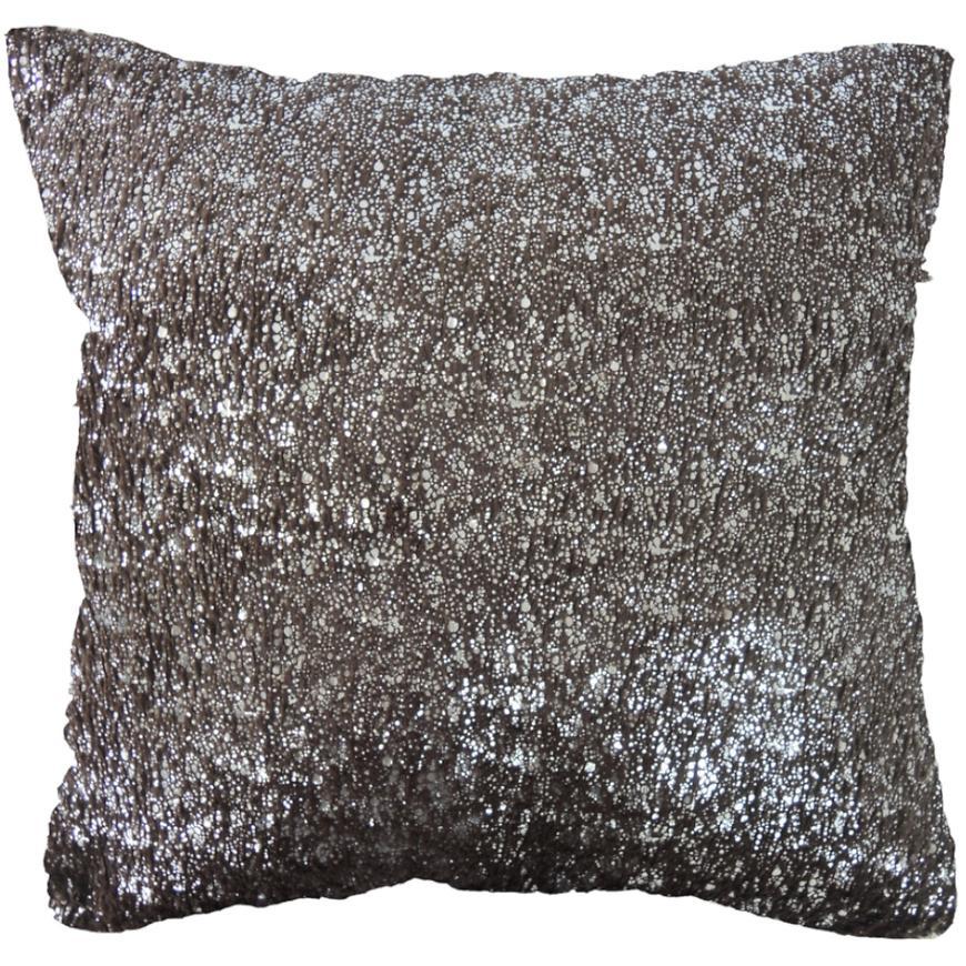 Dekorační polštář, 45x45 cm, hnědostříbrný