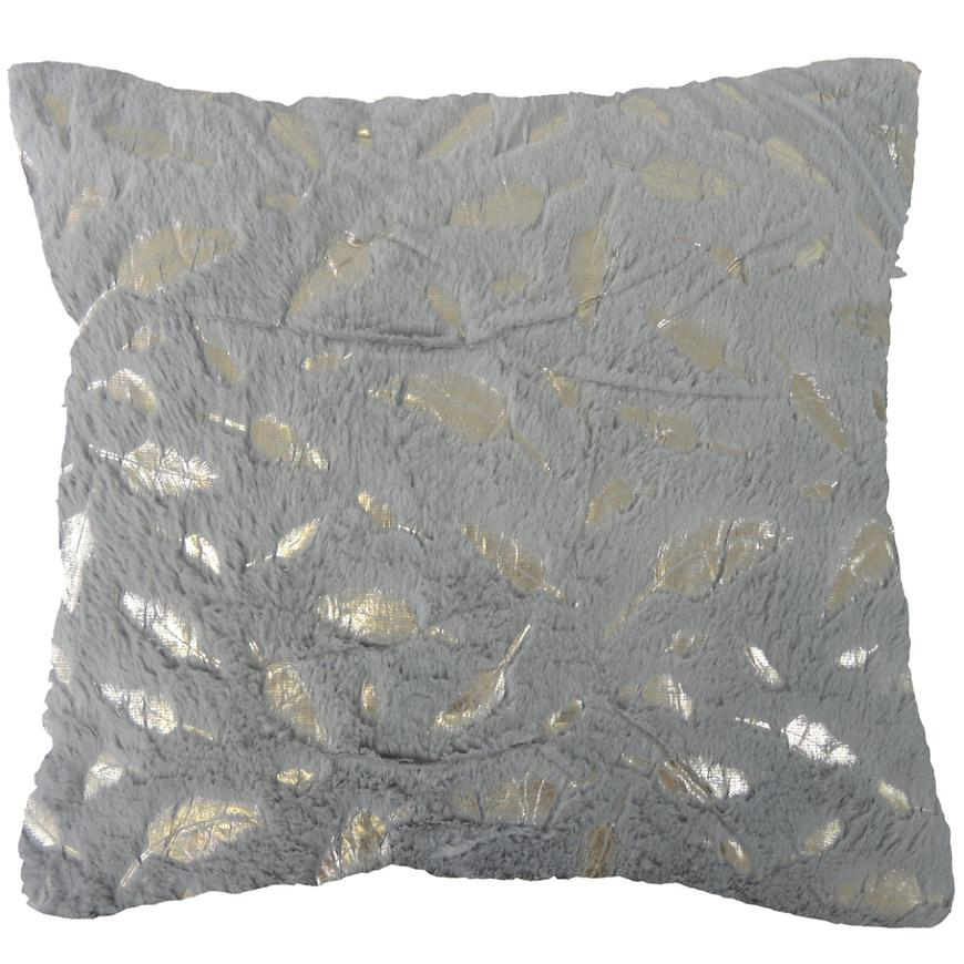 Dekorační polštář, 45x45 cm, šedostříbrný