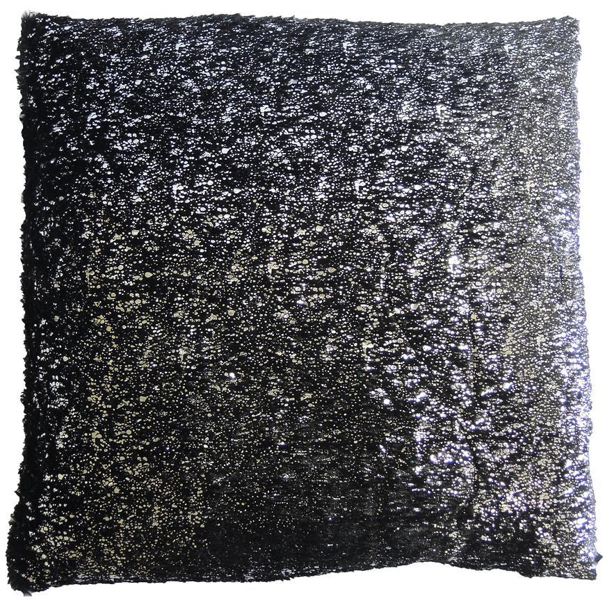 Dekorační polštář, 45x45 cm, černostříbrný