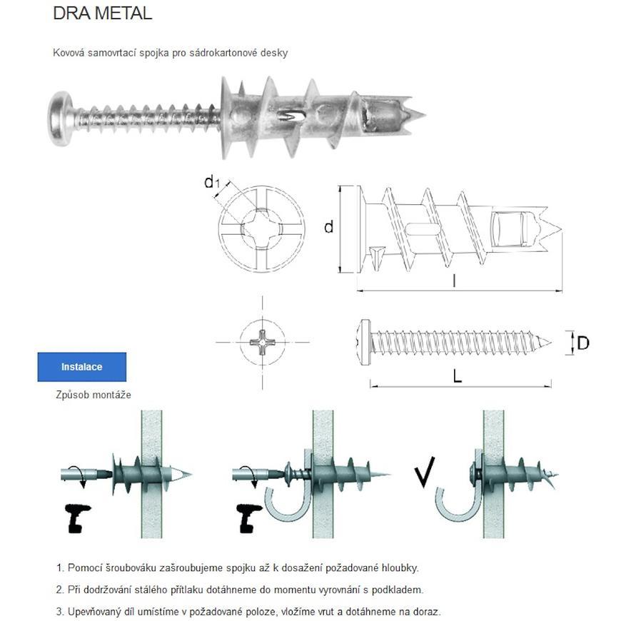 Hmoždinka závrtná DRA-02 do sádrokartonu - kov (6 ks/bal.)