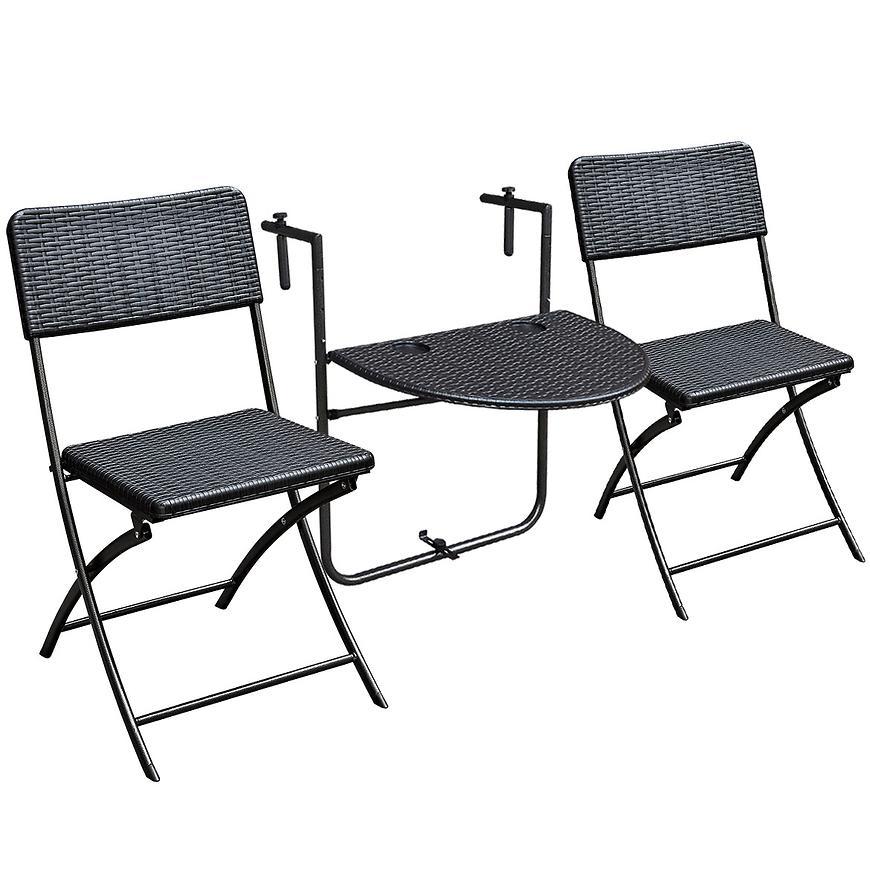 Sada nábytku balkonový stůl + 2 židle černá