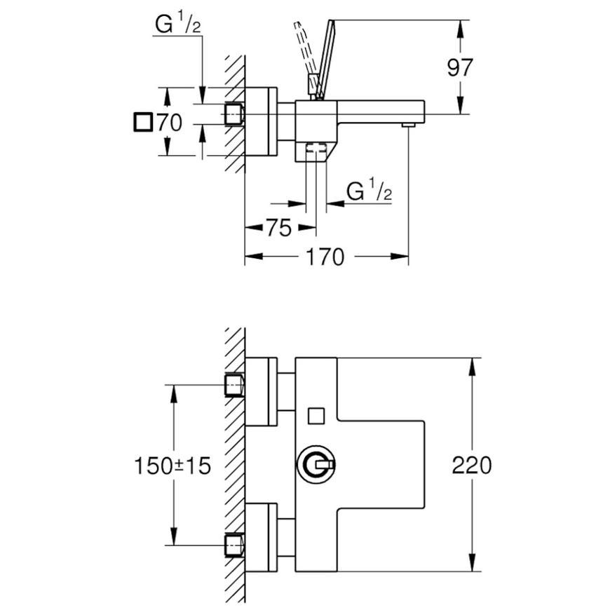 Baterie vanová nástěnná EUROCUBE JOY 23666000