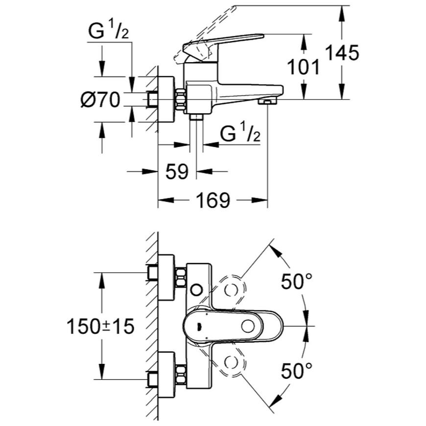 Baterie vanová nástěnná EUROPLUS 33553002